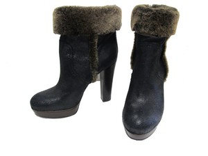Tory Burch Pull Distressed Fur Trim Ankle Black Boots