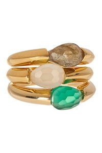 Savvy Cie 22K Yellow Gold Vermeil Semi-Precious Stone Stackable Ring