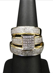 Other 10k Yellow Gold Diamond Engagement Wedding Ring Trio Set 1.35ct