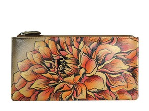 Anuschka Anuschka Hand Painted Two Fold Wallet, Dreamy Dahlias Bronze