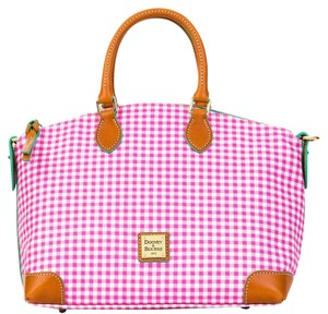 Dooney & Bourke & Domed Small Gingham Leather Satchel in PINK