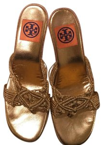 Tory Burch Espadrille Sandal Comfortable Stretchy Gold Wedges
