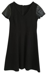 Ann Taylor short dress Black Vegan Leather Fit And Flare Petite on Tradesy
