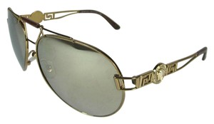 Versace Aviator - Gold Metal & Logo, Mirrored Sunglasses