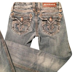 Rock Revival Low Rise Distressed Boot Cut Jeans-Distressed