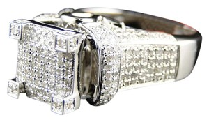 Other WHITE GOLD FINISH 3D PAVE DIAMOND WEDDING ENGAGEMENT BAND RING 1.1CT