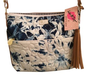 Betsey Johnson Denim Designer Quilted Bj Cross Body Bag
