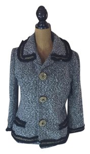 Ethy & Paule Rhinestone Buttons Metallic Gray Tweed w/black trim Jacket