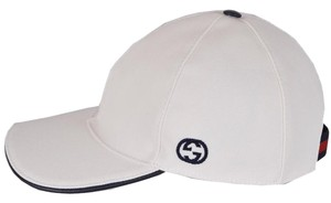 Gucci NEW Gucci Men's 387554 White Canvas Interlocking GG Web Hat Size M