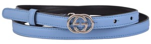 Gucci New Gucci Women's 370552 Blue Leather Interlocking GG Buckle Belt