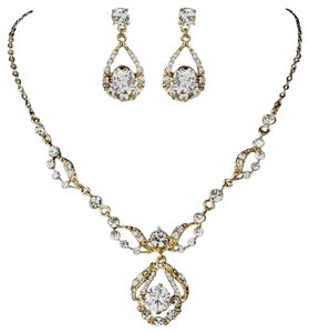 Elegance By Carbonneau Gold Clear Round Rhinestone Necklace & Earrings Bridal Jewelry Set