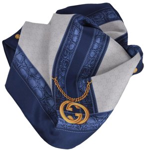 Gucci New Gucci 327374 Blue Beige GG Guccissima Charm Silk Twill Neck Scarf
