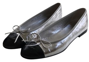 Chanel silver with black toe Flats