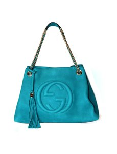 Gucci Nubuck Leather Like New Embossed Gg Chain Handle Tote in Turquoise