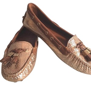 Tory Burch Metallic Gold Snakeskin Flats