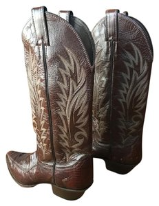 Justin Boots Leather Vintage Justin Cowboy Western burgundy/maroon/wine Boots