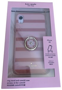 Kate Spade iPhone XR --- NWT Stripe Resin Ring Stand and Comold Case