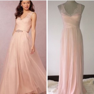 BHLDN Blush Nylon Tulle Lace Polyester Lining Fleur Formal Bridesmaid/Mob Dress Size 4 (S)