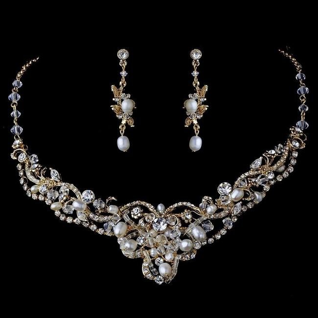 Item - Gold Clear Freshwater Pearl Crystal Jewelry Set
