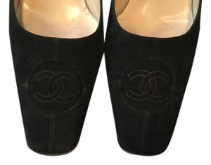 Chanel Suede Logo Black Pumps