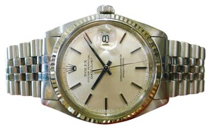 Rolex MENS ROLEX OYSTER PERPETUAL DATEJUST STAINLESS STEEL GOLD WATCH c 1977
