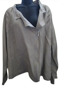 Ashley Stewart Khaki Asymmetric Plus Size Spring Linen Beige Jacket