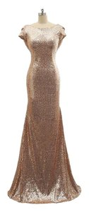 Other Gold Gown Formal Mermaid Backless Dress
