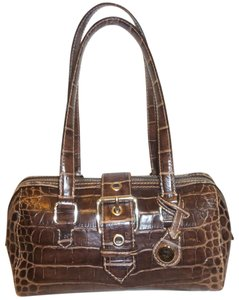 Dooney & Bourke Refurbished Leather Croc Lined Shoulder Bag