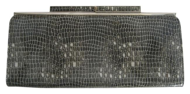 Item - Grey Silver Faux Snakeskin Printed Leather Poly Coating Clutch