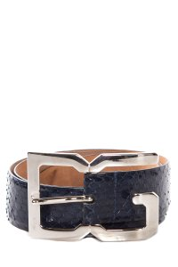 Dolce&Gabbana Navy Python Belt With Silver DG Logo Buckle