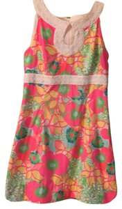 Lilly Pulitzer short dress pink, white, white lace trim, green, yellow, blue, orange. multi color floral. on Tradesy