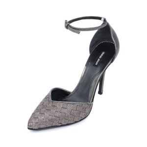 Giorgio Armani Armani Pointy Toe Genuine Leather Metallic Silver Pumps