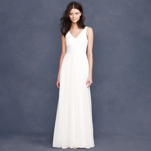 J.Crew Ivory Silk Chiffon Sophia Destination Wedding Dress Size 4 (S)
