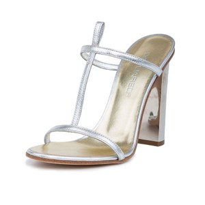 Dsquared2 2 Leather Made In Italy D2 Metallic Silver Sandals