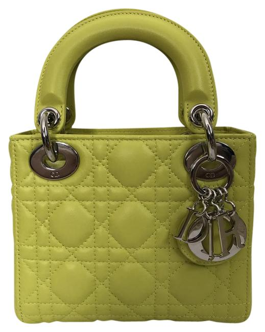 Item - Lady Christian Mini Cannage Quilted Handbag Neon Lime Leather Cross Body Bag