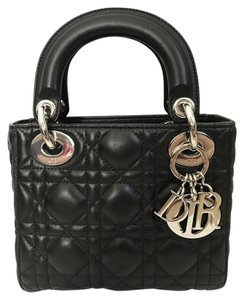 Dior Christian Leather Lady Tote Cross Body Bag
