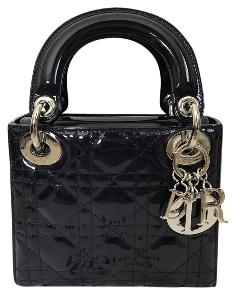 8d17208a20ab Dior Lady Dior Christian Cannage Quilted Handbag Navy Patent Leather Cross  Body Bag