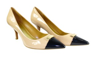 Coach Leather Pointed Toe Nude/Black Pumps