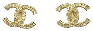Chanel Chanel Large Classic Stud Crystal Earrings in Gold 2017