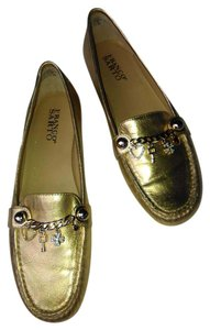 Franco Sarto Loafer Gold Charm Accent Gold Metallic Flats