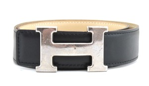Hermès #8836 32Mm Silver H Size 70 Reversible Belt Black on beige
