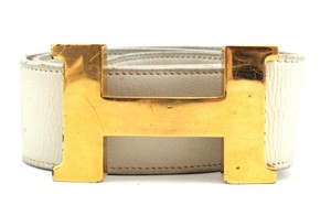 Hermès #9280 42 Mm Gold Polished Constance H Belt Leather White