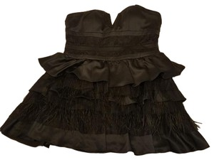 bebe Party Lace Satin Feather Cleavage Dress