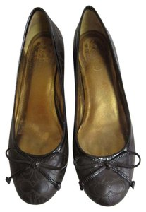 Coach Leather Monogram Brown Flats