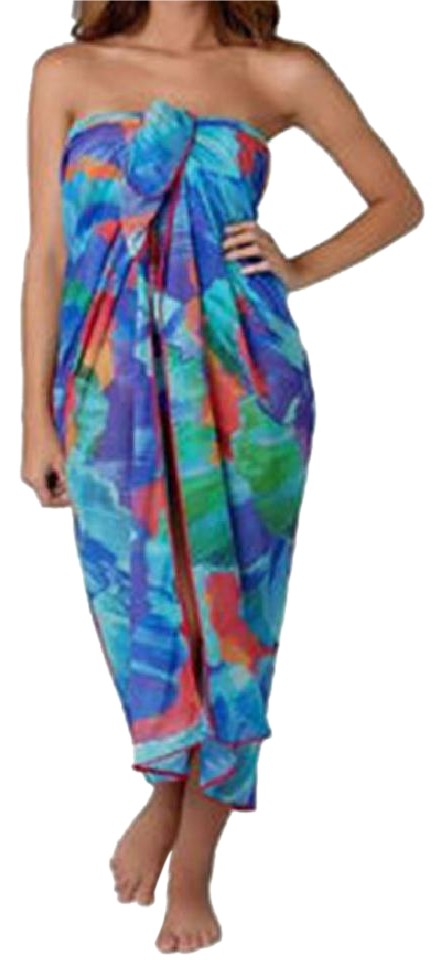 b0cdb1a37c307 Gottex Multicolor Silk with Detachable Ring Cover-up/Sarong Size OS ...