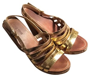 Miu Miu gold Wedges
