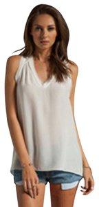 Rebecca Taylor V-neck Layered Frayed Edges Lace Back Racer Cut Hi-low Hem Top Ivory