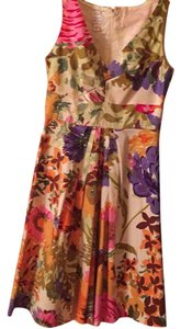 Suzi Chin short dress off white, purple, red, pink, green, gold, orange,brown Floral. Beautiful for spring and summer. on Tradesy