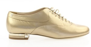 Chanel Pearl Lace Ballerina Gold Flats