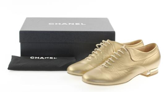 Chanel Pearl Lace Ballerina Gold Flats Image 11